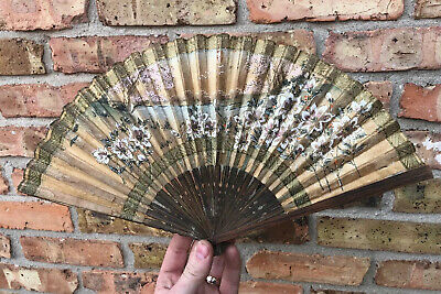 Antique Victorian Wood Folding HAND PAINTED Hand Fan Vintage