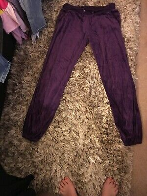 Golddigga Girls Purple Velour Tracksuit Bottoms Age 12 In V Good Used Condition