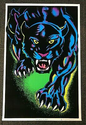 Vintage NOS Blacklight Poster 1604 King of the Night Black Panther Jungle Colors