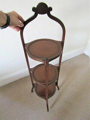 Antique Edwardian Inlaid Mahogany Folding Cake Stand - tea shelf tray plate cup
