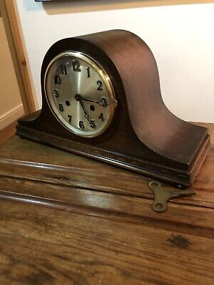Vintage /Antique Mantle Clock . Napolian Hat 8 Day With Chimes By URGOS C1930s.