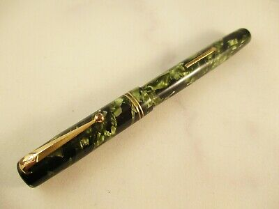 Vintage MABIE TODD SWAN green black marbled fountain pen 14k#2 nib, c.1940´S