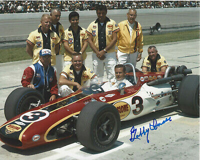 BOBBY UNSER INDY CAR DRIVER SIGNED 8x10 PHOTO INDIANAPOLIS 500 CHAMPION 5 w/COA