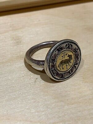 Authentic Ancient Roman Silver Ring With Gold Medallion Antique
