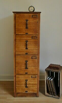 Tall Vintage Rustic Industrial Oak 4 Drawer Filing Cabinet Home or Office C1920s