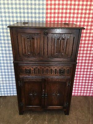 Stunning Solid Oak Jaycee Cocktail Drinks Cabinet Linenfold Old Charm Style