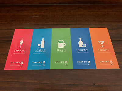 Five (5) United Airlines Beverage Drink Voucher Coupons - Expires 1/31/2020