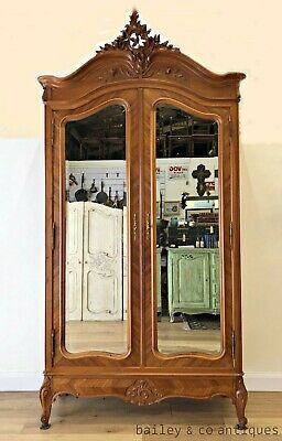 Vintage French Armoire Louis XV Style Mirrored Doors Rocaille - TA087