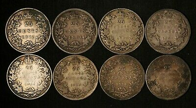 1872 - 1919 Lot of 8 Canada 25c Silver Quarters - Free Shipping USA