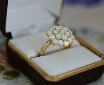 Vintage Jewellery Gold Ring With Opals Antique Art Deco Jewelry Size 8 P