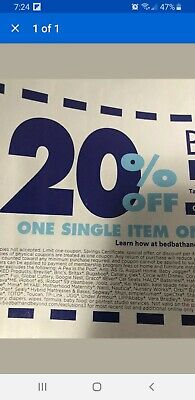 1 Bed Bath and Beyond Code 20% Off One Item online, MessageCode ASAP Exp 2/3/20