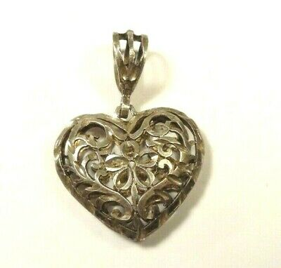 Vintage Etched Filigree Puffy Heart Love Sterling Silver Pendant Charm 925