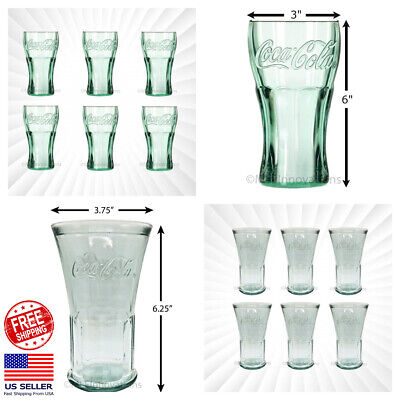 "Coke Glass Genuine Coca-Cola Green Large 6"" Tall Glasses Cup Vintage 17 OZ NEW"
