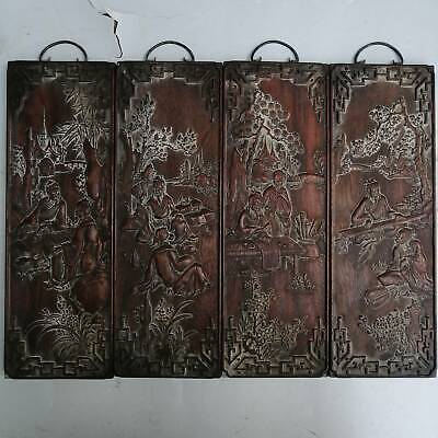Chinese old ebony old wooden frame screen hanging screen wall painting 4 screens