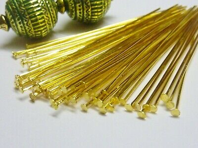100 pce Long Gold Tone Straight Head Pins 65mm Jewellery Making Earrings