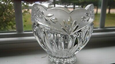 Vintage Cut Crystal Glass Floral Etched Frosted Vase Dish Bowl Collection