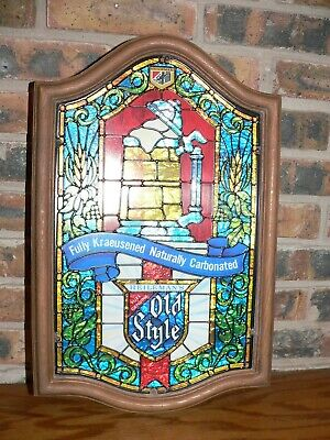 "Vintage Old Style Beer ""Stained Glass"" (Non-Lighted) Advertising Logo Bar Sign"