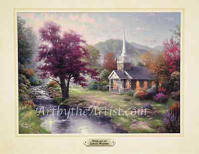 Thomas Kinkade STREAMS OF LIVING WATERS 11x14 Print UV coated mounted on board