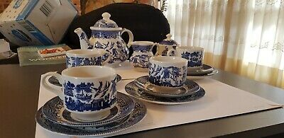 Antique Blue Willow 17 pieces Coffee Set .Exc Churchill blue willow coffee set