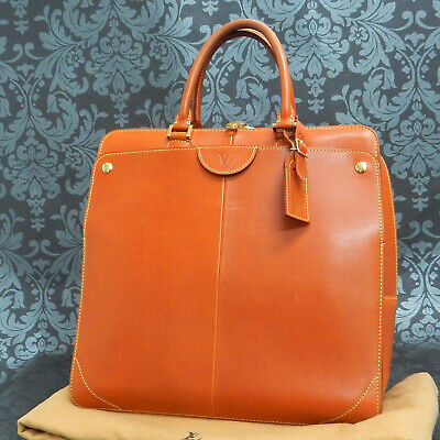 Rise-on LOUIS VUITTON Nomade Leather Camel Negev PM Briefcase Business Bag #2