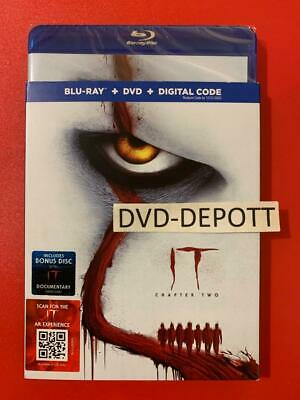 IT: CHAPTER TWO 2 Blu Ray + DVD + Digital & Slipcover New FAST Free Shipping