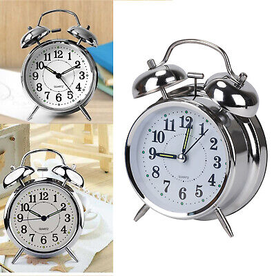 Retro Loud Double Bell Mechanical Key Wound Alarm Clock Kid Gift