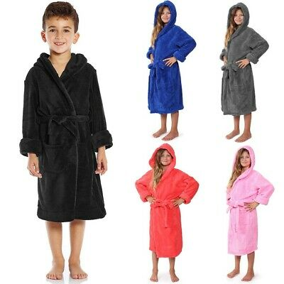 Unisex Kid Soft Pajama Set Hooded Bathrobe Dressing Gown Plush Thicken Warm Robe