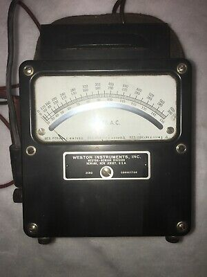Weston Electrical Instruments, model 433 0-600 AC Volt meter Zero Corrector Vtg