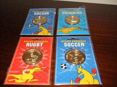 4 Boxing Kangaroo Medals including 2 Soccer, Swimming and Rugby in Original Pack