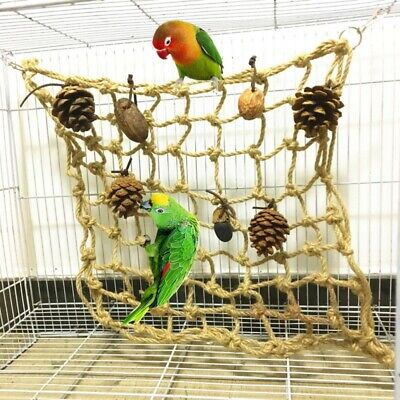 Pet Parrot Bird Hanging Rope Hook Toys Climbing Net Cage Swing Ladder Macaw AU