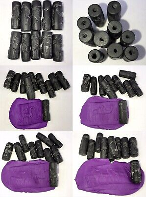 GREAT DEAL!! Afghan Old Black Jade Stone Animal Intaglio  Cylinder Beads Lot 10
