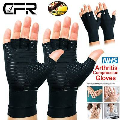 Anti Arthritis Copper Compression Gloves Fingerless Medical Hand Pain Relief FT