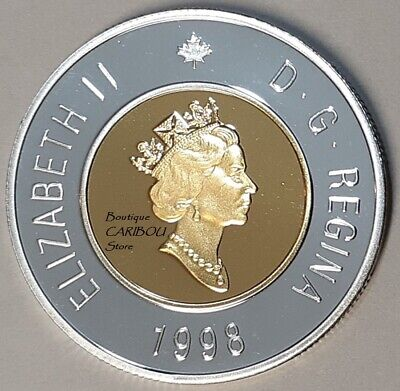 1998 Canada Silver Proof Toonie, 24 Kt Gold Plated