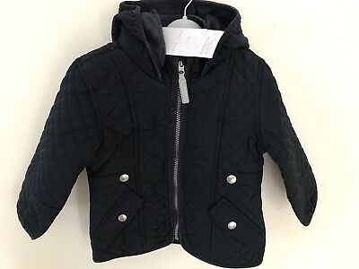 Navy Quilt Faux Fur Lined Coat Jasper Conran RRP £38 Baby Girl 18-24 Months BNWT