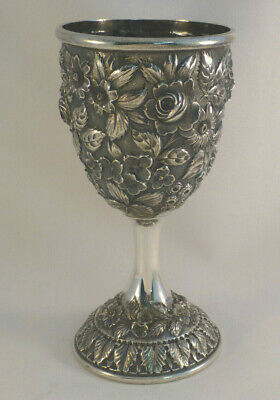 """Baltimore Rose by Schofield Floral Repousse Sterling Goblet(s)- 6 3/4"""""""