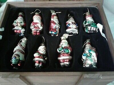 Thomas Pacconi 2002 Santa Claus Ornaments From Around The World w/Wood Crate