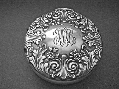 Tiffany & Co Makers Sterling Repoussé Trinket / Pill Box- Hinged - 1897 - RARE!!