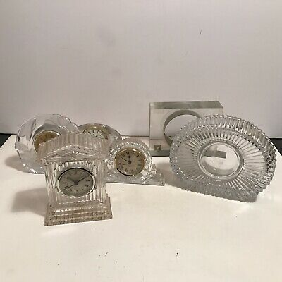Antique assorted lot clear glass crystal clocks and parts