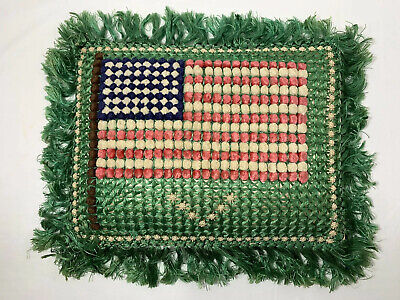 ANTIQUE Silk Crochet Embroidered Pom PILLOW Floral War Patriotic Victory Flag
