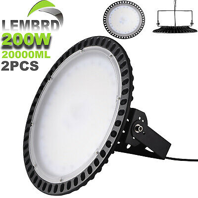 2X UFO LED High Bay Light 200W Warehouse Replacement Lamp Cool/Day Ultra-thin