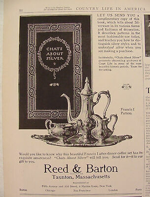 """'14 Reed & Barton Francis I After Dinner Coffee Set Ad """"Chats About Silver"""" Book"""