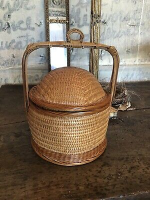 Vtg Chinese Wedding Basket Woven Bamboo With Handle & Domed Lid 12""