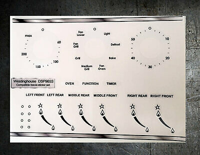 Westinghouse DSP965S compatible cooker panel, fascia stickers, may suit others.