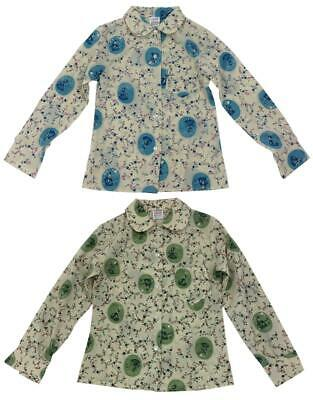 Girls Vintage Peter Pan Collar Cameo Ditsy Floral Slim Fit Blouse 2 to 12 Years