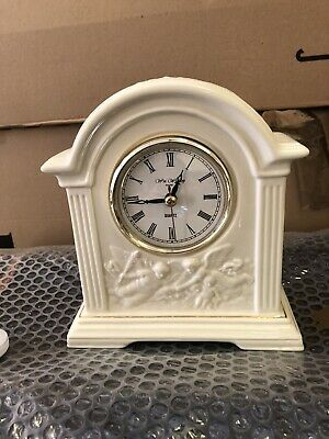 Beautiful ornate mantle clock In Ivory With Floral Detail