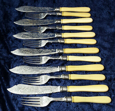 Antique Victorian ornate & engraved fish cutlery silver plate with bone handles