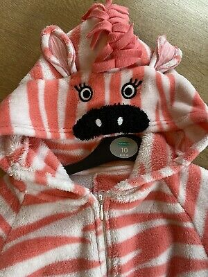 Girls M & S Pink Animal Stripe All in One/Sleepsuit Age 9-10