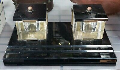 1920's French Art Deco Double Lucite Inkwell Desk Caddy with Marble Base
