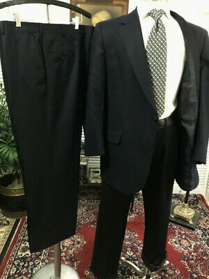 NAVY PINSTRIPE 100% WOOL USA MENS 2 TWO PIECE SUIT SIZE: 44S  PANTS: 42x28  #A7