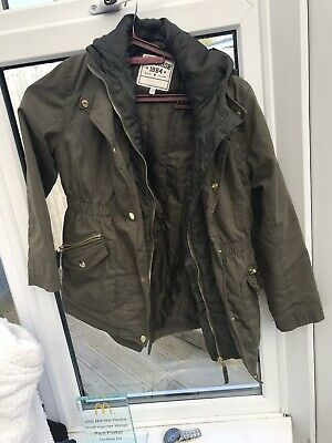 Marks & Spencer Girls Khaki Green Parka Coat with Hood - Age 9-10 Years